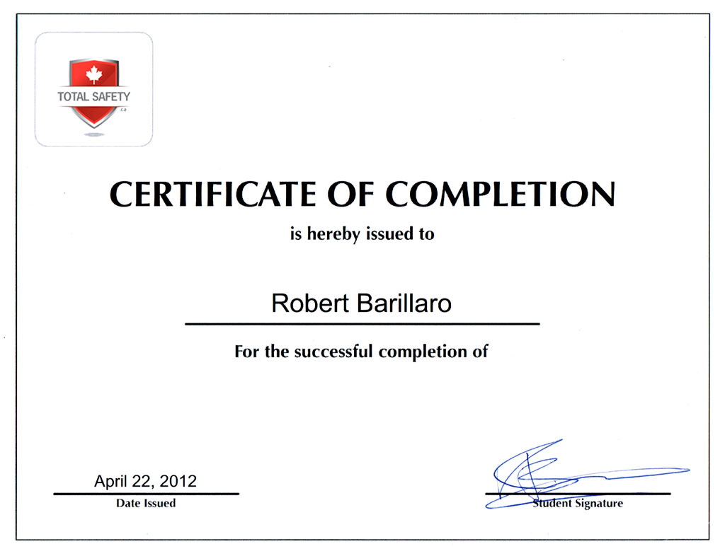 Certification Total Safety Ouest-de-lile